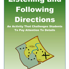 Listening and Following Directions Activity With Lesson Plan