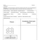 Literacy Vocab Worksheet - Science of Heredity (9 - 12)