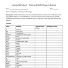 Literacy Worksheet - Science Prefixes and Suffixes