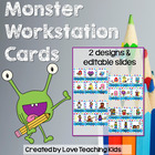 Literacy Workstation Cards and Signs- Monster Themed