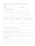 Literature Circle Preparation Sheets