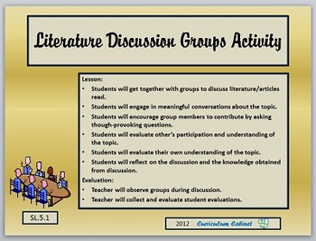 Literature Discussion Evaluation Rubric CCSS SL.5.1