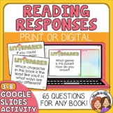 Literature Response QUESTION Cards for Any Book: 64 Cards,