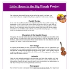 Little House in the Big Woods Reading Creative Projects an