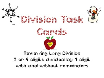 Long Division Task Cards (Snowman)