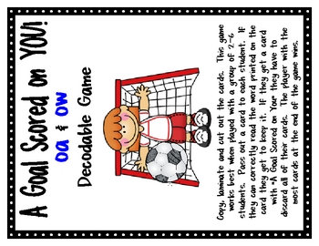 Long O {oa & ow} Decodable Word Game