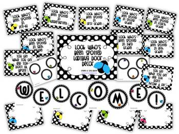Look Who's Been Spotted Black & White and Ladybugs Door Decor Kit