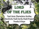 Lord of the Flies: Test, Quiz, Guides, Task Cards, Mask Pr