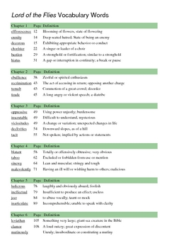 Worksheets Lord Of The Flies Vocabulary Worksheet collection of lord the flies vocabulary worksheet sharebrowse delibertad