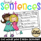 Lovely Sentences {Complete the sentence with the CVC word}