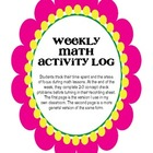 MATH Weekly Activity Log - Student Recording Sheet
