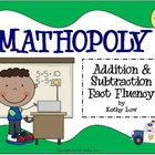 MATHOPOLY - Addition & Subtraction Fact Fluency Games