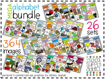 MEGA Alphabet Bundle A-M {Graphics for Commercial Use}