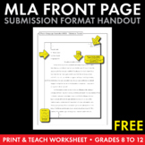 MLA Paper Formatting – FREE Handout to Model M.L.A. Submis