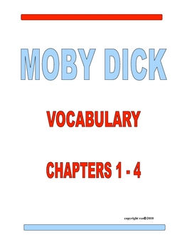 MOBY DICK VOCABULARY CHAPTERS 1-4
