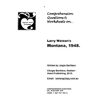 MONTANA Larry Watson Comprehension Questions & Worksheets
