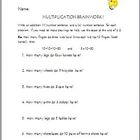 MULTIPLICATION BRAINWORK:FUN WORD PROBLEMS!