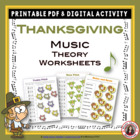 MUSIC Thanksgiving Worksheets
