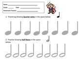 MUSIC WORKSHEET- DRAW QUARTER NOTES & HALF NOTES -GREAT FO
