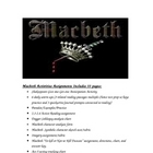 Macbeth 41 pages of Assignments/Activities