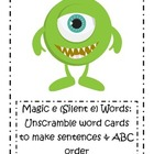 Magic e (Silent e) Word Card Activities