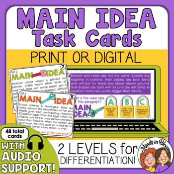 Main Idea Cards: 48 Cards Informational Text Cards for Differentiated Learning
