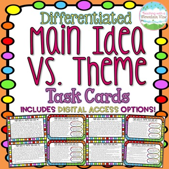 Main Idea Vs. Theme Task Cards { Difference between Main Idea and Theme }