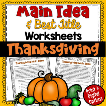 http://www.teacherspayteachers.com/Product/Main-Idea-and-Best-Title-Worksheets-Thanksgiving-test-prep-411395