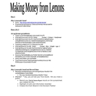 Making Money From Lemons Microsoft Excel Project (older ve