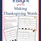 Making Thanksgiving Words, K-4