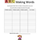 Making Words with the Word of the Week Handout