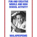 Malapropisms: Fun ELA High School Printable!