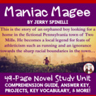 Maniac Magee Reading Comprehension Activity Guide
