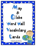 Map and Globe Word Wall Vocabulary Cards - geography FREEBIE!