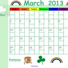 March 2013 Calendar for Smartboard