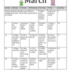 March Homework Calendar for Kindergarten