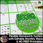 March Homework Menu Pack-Editable & Differentiated for Eve