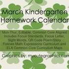 March Mon.-Thur. Common Core Kindergarten 4 Week Homework