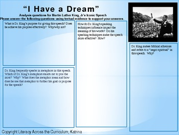"i have a dream speech analysis questions luther king jr s ""i have a dream"" speech after they have the text ask them to address the following activity questions support analysis of what the"