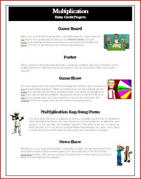 Mastering Multliplication Facts: Extra Credit Project Activities
