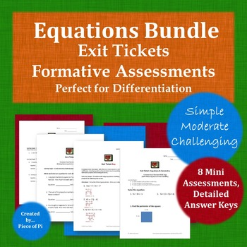 Math 8.EE.7 Equations Exit Ticket/Mini Quiz Bundle Simple Moderate Challenging