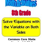 Math 8th Grade Solve Equations with the Variable on Both S