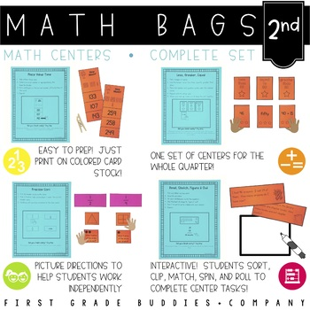 Math Bags for 2nd Grade THE COMPLETE SET (30+ Common Core Aligned Math Centers)