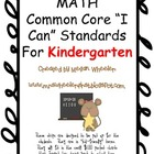 "Math Common Core ""I Can"" Statements for Kindergarten"