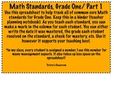 Math Common Core Standards Checklist, Grade 1