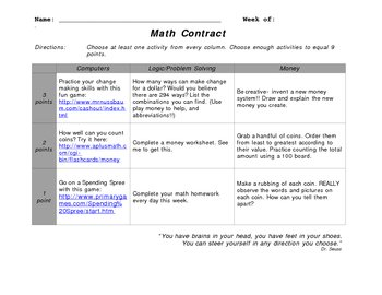 Math Contract - Money