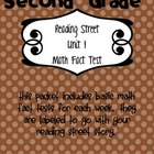 Math Fact Test for Reading Street Stories