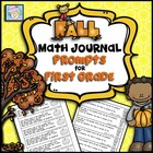 Math Journal Prompts for First Grade:  Fall Version