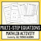 Multi-Step Equations - Math Lib Activity!