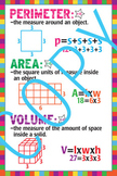 Math - Perimeter, Area and Volume Poster - 18x24